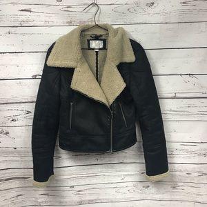 Sherpa lined moto winter jacket